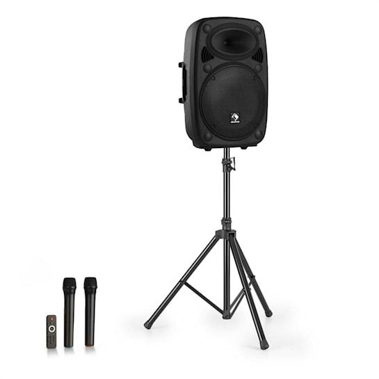 "Streetstar 15 impianto PA portatile + treppiede woofer da 15"" microfono UHF da 1000 W nero"
