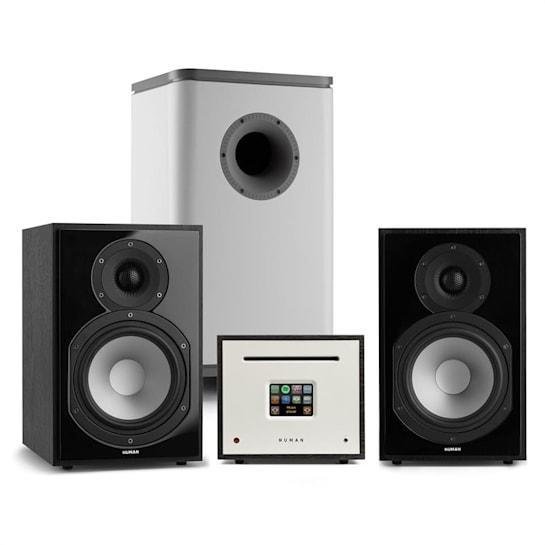 Unison Reference 802 Edition, stereo systém, zesilovač, reproduktory, černo/šedá