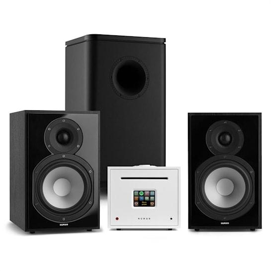 Unison Reference 802 Edition, stereo systém, zesilovač, reproduktory, černá / bílá