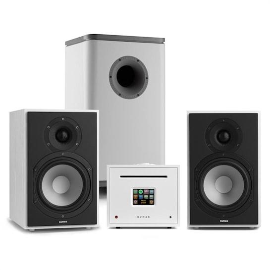 Unison Reference 802 Edition Stereoanlage Verstärker Boxen weiß / hellgrau