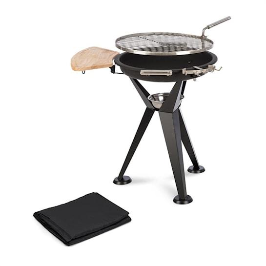 Caruso 2 in 1, tűzrakó tál Ø 58cm, grill Ø55 cm, védőburkolat, acél, fekete