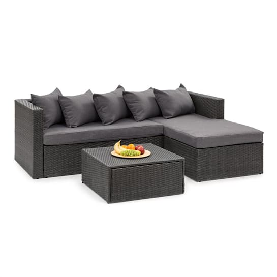 Theia Lounge Set, kerti ülőgarnitúra készlet, fekete/sötétszürke