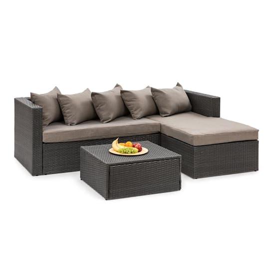 Theia Lounge Set Gartengarnitur Eckcouch Hocker 5 Kissen Polyrattan schwarz / braun