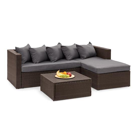 Theia Lounge Set Gartengarnitur Eckcouch Hocker 5 Kissen Polyrattan braun / dunkelgrau