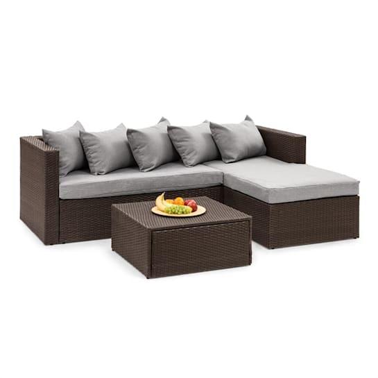 Theia Lounge Set Gartengarnitur Eckcouch Hocker 5 Kissen Polyrattan braun / hellgrau