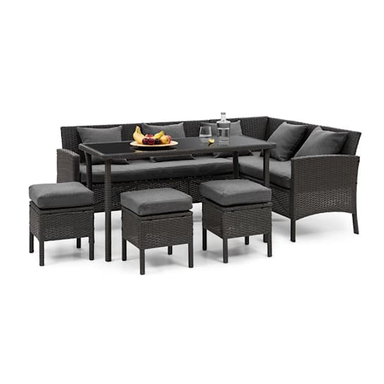 Titania Dining Lounge set zahradní sedací souprava, černá / tmavě šedá
