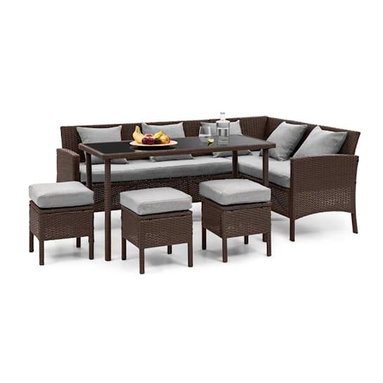 Titania Dining Lounge Set Komplet mebli ogrodowych brązowy/jasnoszary
