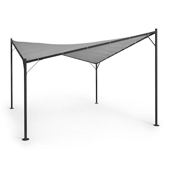 Sombra -pergolasetti 4 x 4 m polyesterikatos harmaa