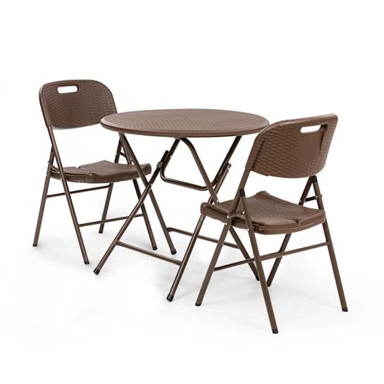 Burgos, set mobilier din masă + 2 scaune, țevi de oțel, HDPE, imitație de ratan, pliabile