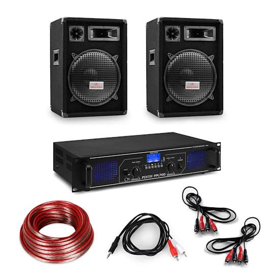 """HiFi Verstärker & Boxen Set   3-tlg: Digitalverstärker 2x350W / 2x Lautsprecher 12"""" 300W RMS inkl. Kabeln"""