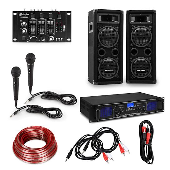 "HiFi DJ-PA-Party Set | 6-tlg: Verstärker 2x250W / 2x 6,5"" Lautsprecher / Mischpult / 2 Karaoke-Mikros / inkl. Kabeln"