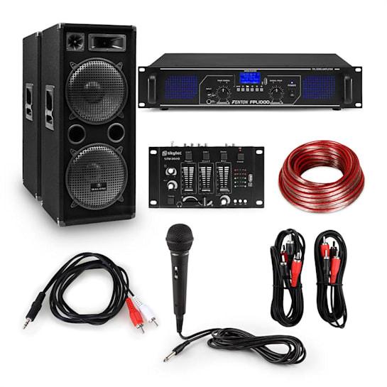 "12 Zoll DJ-PA-Party-Set Digitalverstärker / Mischpult 2x12"" Boxen / 2 x Mikrofon / inkl. Kabel"