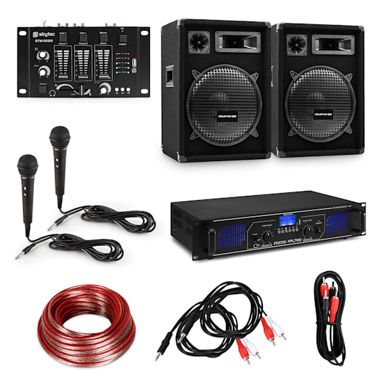 "HiFi party set PA per DJ amplificatore / 2x altoparlanti da 12"" / mixer / 2 microfoni"