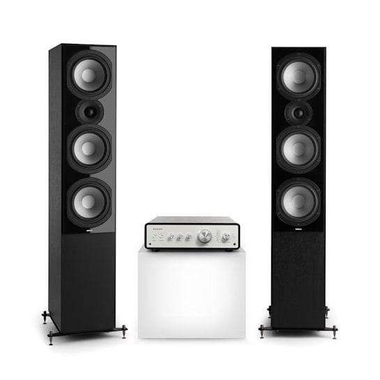 Drive 801 Stereo-Set Digital Stereo-Verstärker + 2 Standlautsprecher BT5.0 Fernbedienung Schwarz / Schwarz
