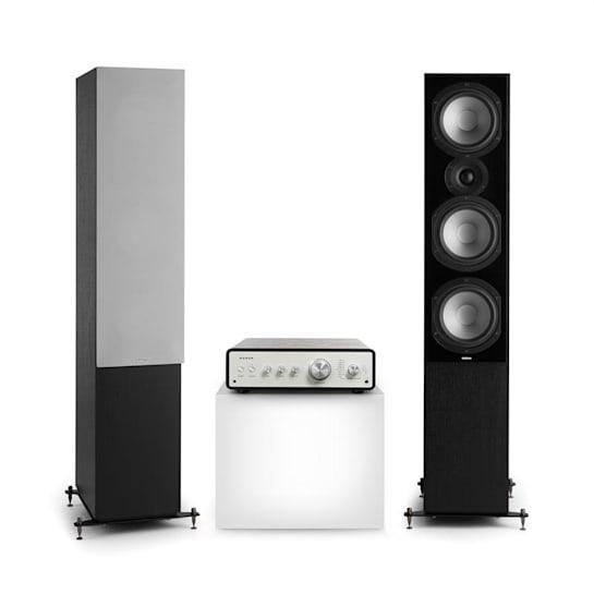 Drive 801, zestaw stereo składający się ze wzmacniacza stereo i kolumn stojących, czarny/szary