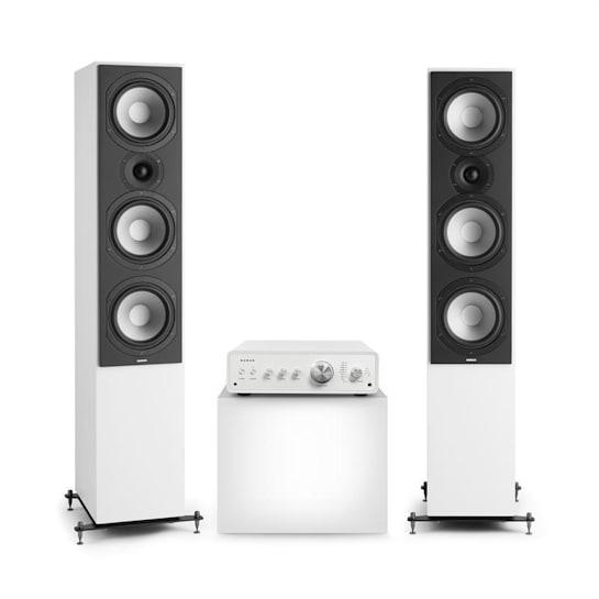 Drive 801, stereo sada, stereo zesilovač, věžový reproduktor, bílá/bílá