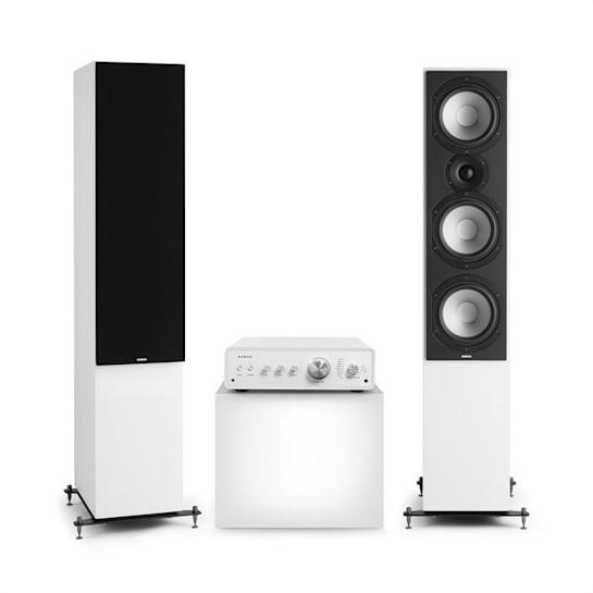 Drive 801 Set Stereo Amplificatore Stereo + Casse Verticali bianco/nero