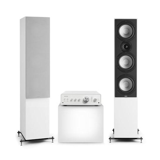 Drive 801, stereo sada, stereo zesilovač, věžový reproduktor, bílá/šedá