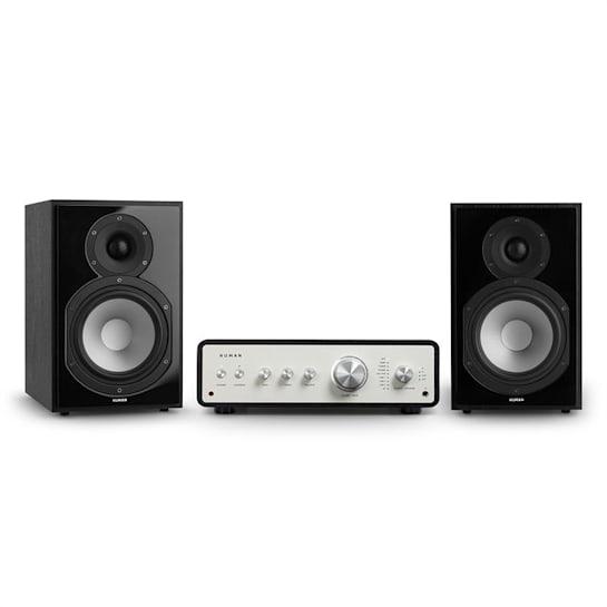Drive 802 Stereo-Set Digital Stereo-Verstärker + 2 Regallautsprecher BT5.0 Fernbedienung Schwarz / Schwarz