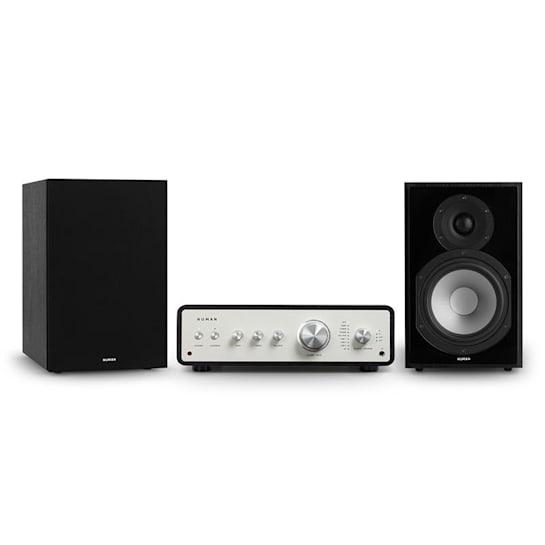 Drive 802 Stereo-Set Digital Stereo-Verstärker + 2 Regallautsprecher BT5.0 Fernbedienung Schwarz / Schwarz / Schwarz