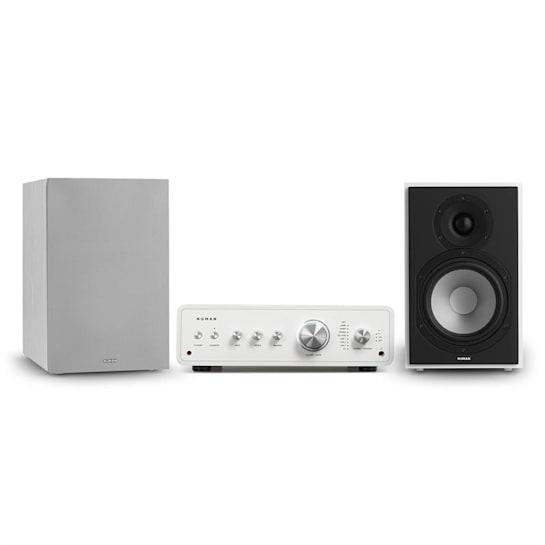 Drive 802, stereo sada, stereo zesilovač, regálový reproduktor, bílá/šedá