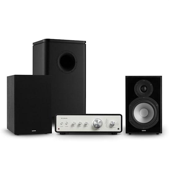 Drive 802, stereo sada, stereo zesilovač, regálový reproduktor, subwoofer, kryt, černá
