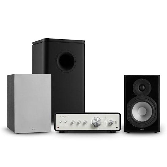 Drive 802, stereo sada, stereo zesilovač, regálový reproduktor, subwoofer, kryt, černá/šedá