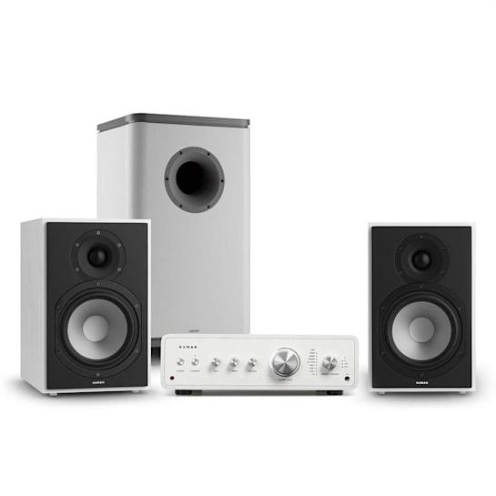 Drive 802, stereo sada, stereo zesilovač, regálový reproduktor, subwoofer, bílá