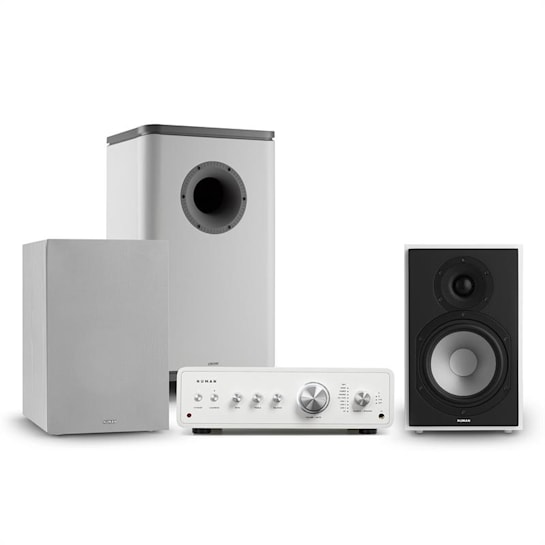 Drive 802 Set Stereo Amplificatore+Casse+Subwoofer+Cover bianco/grigio