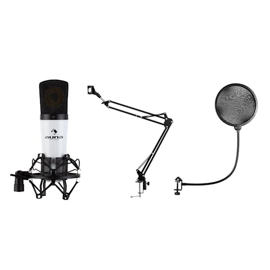 MIC-920 USB Mikrofon-Set V4 Kondensatormikrofon Mikrofonarm POP-Schutz weiß