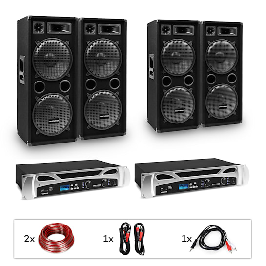 "estar Bangkok Rhythm Pro, DJ systém, sada, PA zesilovač, 2 x 500 W, 4 x subwoofer, 2 x 12"""