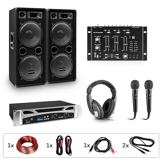 eStar Block-Party II set per DJ amplificatore PA mixer per dj 2xsubwoofer cuffie