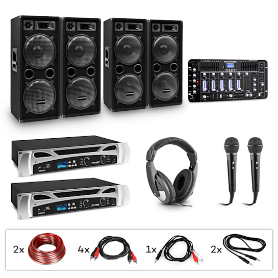 Bass-Party Pro DJ System-Set 2xPA-Verstärker DJ-Mixer 4xSubwoofer Kopfhörer 2xMikro Kabel