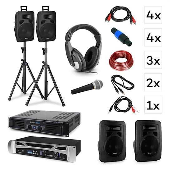 Lisbon DJ systém set + PA zesilovač + PA reproduktor + DJ sluchátka + mikrofon