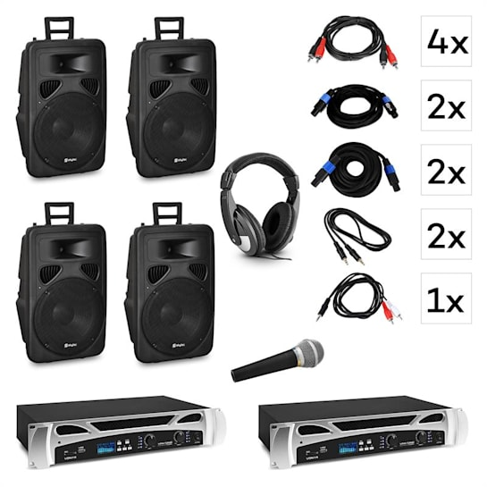"Berlin Nights DJ System-Set | 2 x PA-Verstärker: 2 x 500 W | 4 x 2-Wege-Lautsprecher: 15"" (38cm) / 600 W / Titan-Dome-Horn 