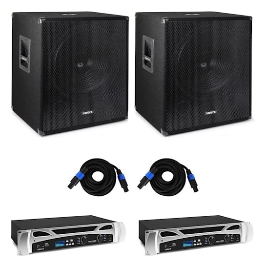 Bass Storm DJ PA, 2 x PA zesilovač 500 W, 2 x PA subwoofer 600 W