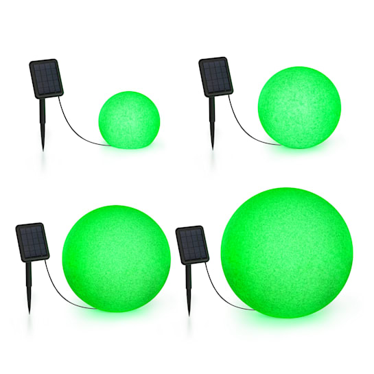 Shinestone Solar Ball Light Set 4 Pieces Solar Panel RGB-LED IP68