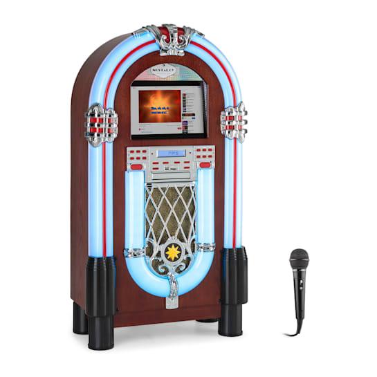 "Graceland Touch Jukebox 12"" Touch-Bedienfeld WLAN, CD, BT, Mikro, Holzoptik"