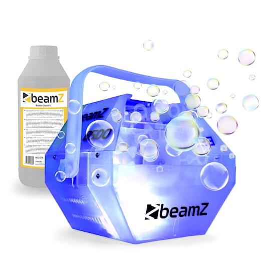 B500LED Bubble Machine Seifenblasenmaschine Set RGB-LED-Farbeffekt 1-L-Liquid