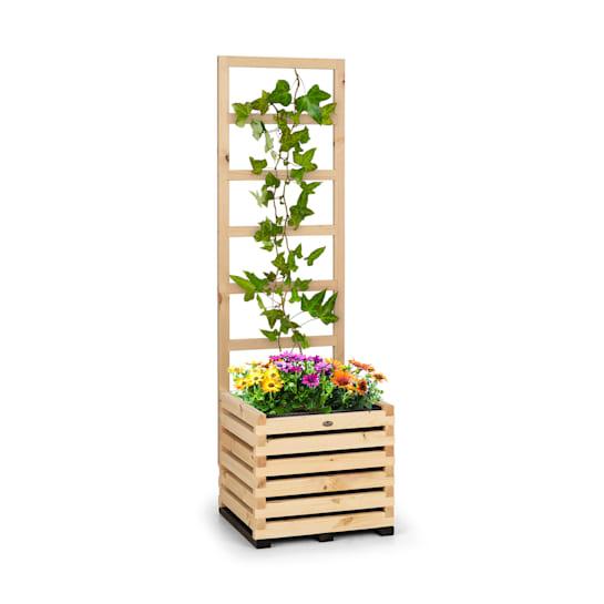 Mod Grow 50, set de paturi de flori și scară ridicate, 50 x 151 x 45 cm, lemn de pin, folie cu bule