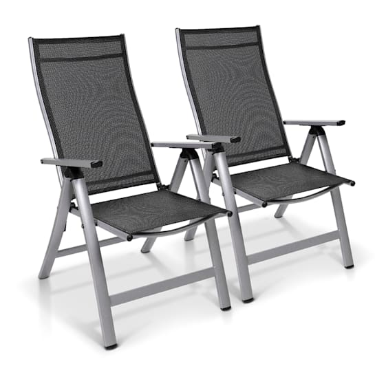 London Gartenstuhl 2er-Set Textilene Aluminium 6-Positionen klappbar