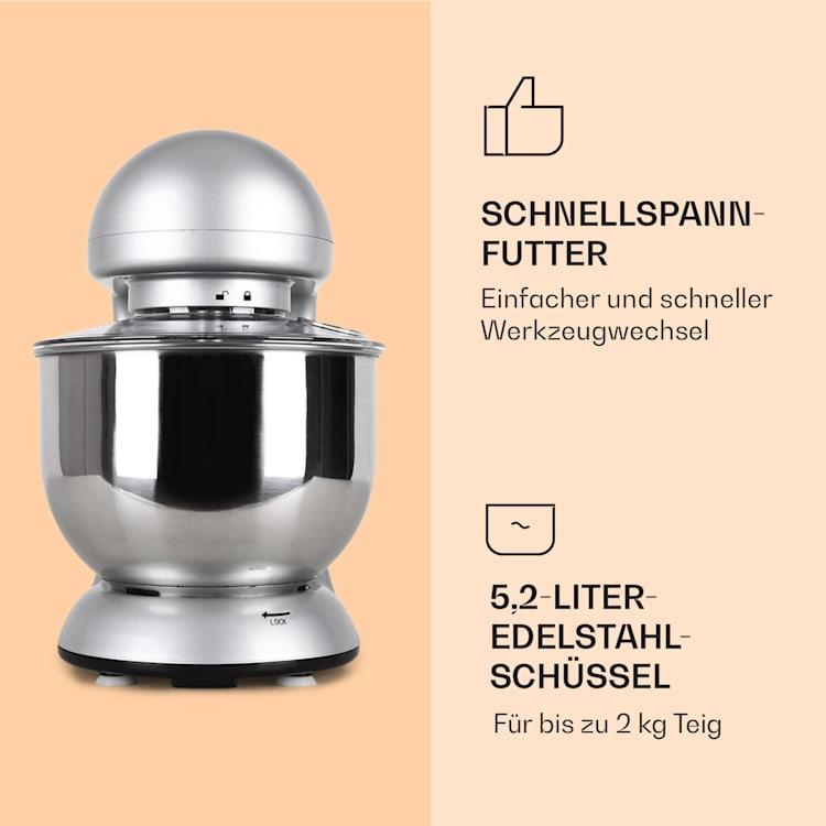 Bella Küchenmaschine 2000 W / 2,7 PS 5 Ltr Edelstahl BPA-frei Silber