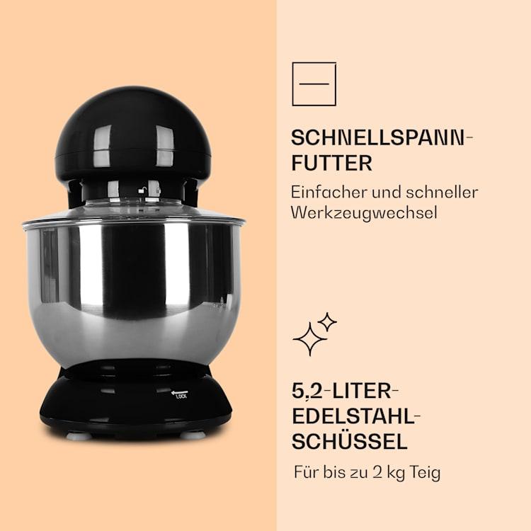 Bella Küchenmaschine 2000 W / 2,7 PS 5 Ltr Edelstahl BPA-frei Schwarz