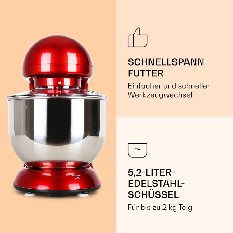 Bella Küchenmaschine 2000 W / 2,7 PS 5 Ltr Edelstahl BPA-frei Rot