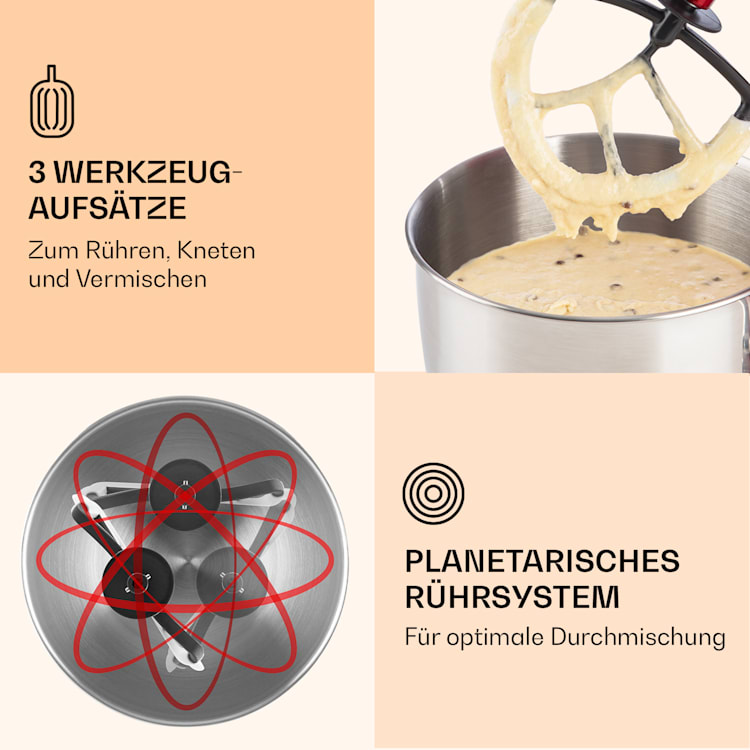 Lucia Küchenmaschine 3-in-1 2000 W / 2,7 PS 5 Ltr Edelstahl BPA-frei Rot
