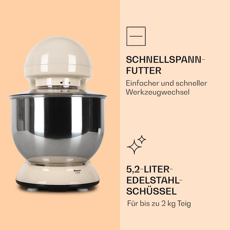 Bella Küchenmaschine 2000 W / 2,7 PS 5 Ltr Edelstahl BPA-frei Creme