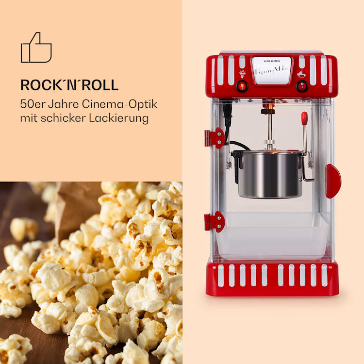 Volcano Popcornmaschine 300W Rührwerk Edelstahl-Topf Rot