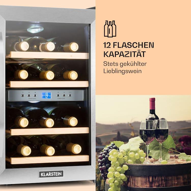 Reserva 12 Duo Weinkühlschrank 2 Zonen 34 Liter 12 Flaschen Edelstahl