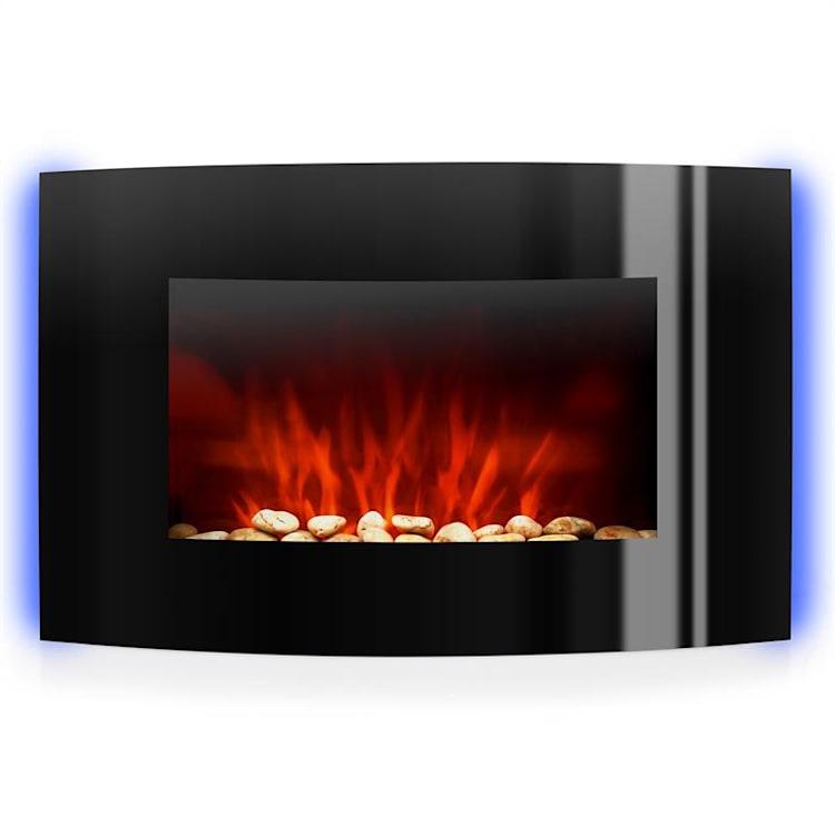 Lausanne Cheminée électrique à radiateur soufflant 2000W éclairage LED Noir