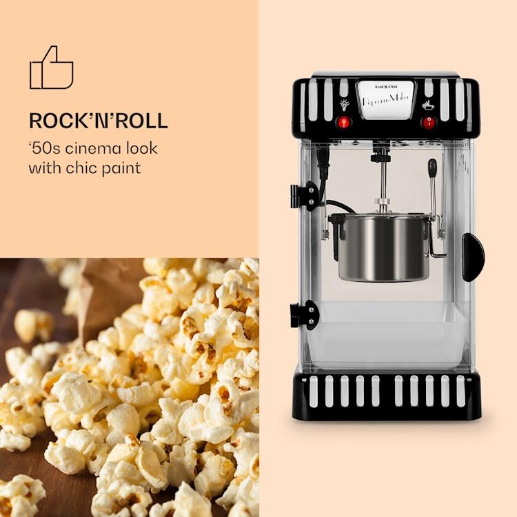 Volcano popcornmachine 300w roermechanisme roestvrijstalen kom Zwart